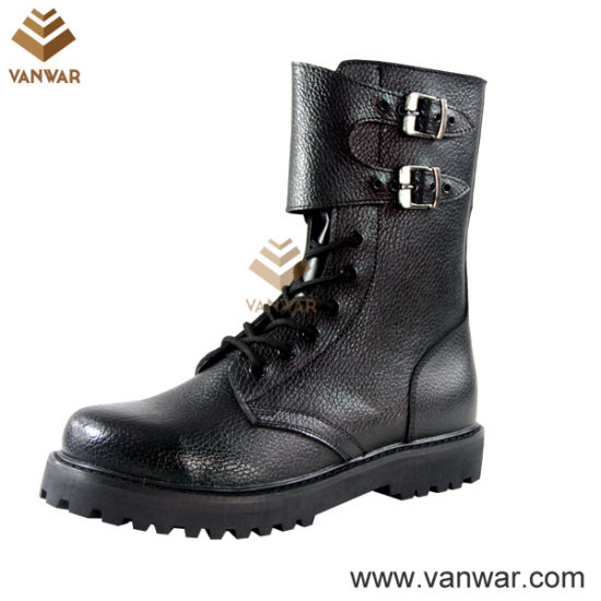 Hot Sale Black Leather Military Combat Boots (WCB039)