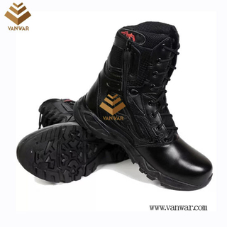 Full Leather Unisex Military Combat Boots of Black with High Quality (WCB058)