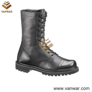 Full Smooth Black Leather Military Tactical Boots (WTB021)