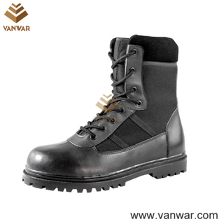 Black Military Combat Boots with Acid-Resistant Rubber (WCB003)