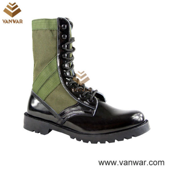 Shiny Leather Military Camouflage Jungle Boots for Soliders (WJB003)