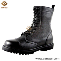 Smooth Leather Durable Black Combat Military Boots (WCB042)