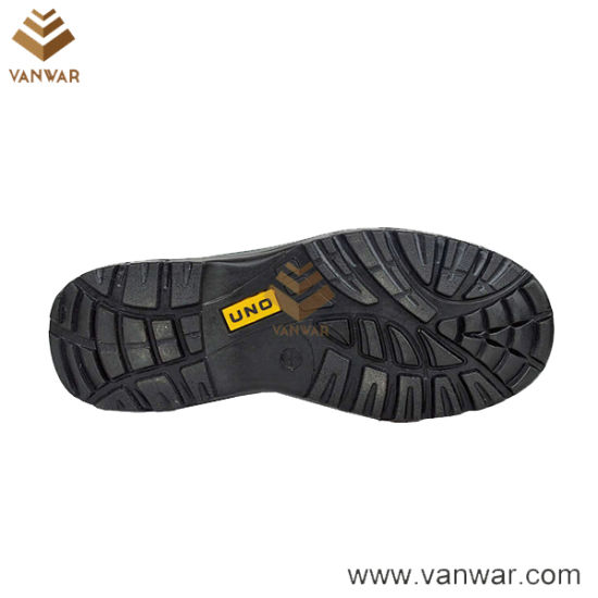 Black Leather Working Safety Shoes with Breathable Mesh Lining (WSS011)