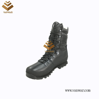 Top Layer Leather Military Combat Boots of Black with High Quality (WCB064)